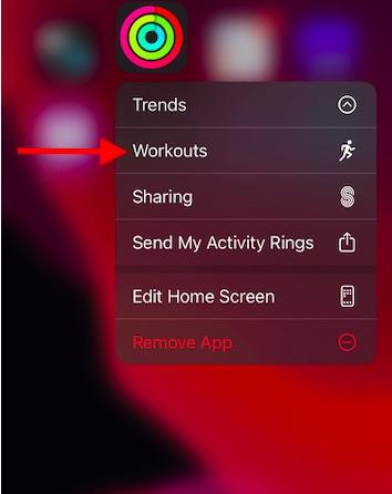 Access Workout info via Fitness app contextual menu
