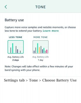 Optimize Amazon Halo battery when using Tone feature