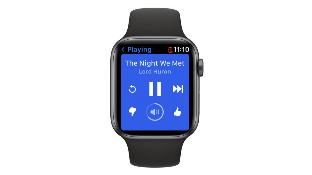 controls for Pandora app on Apple watch