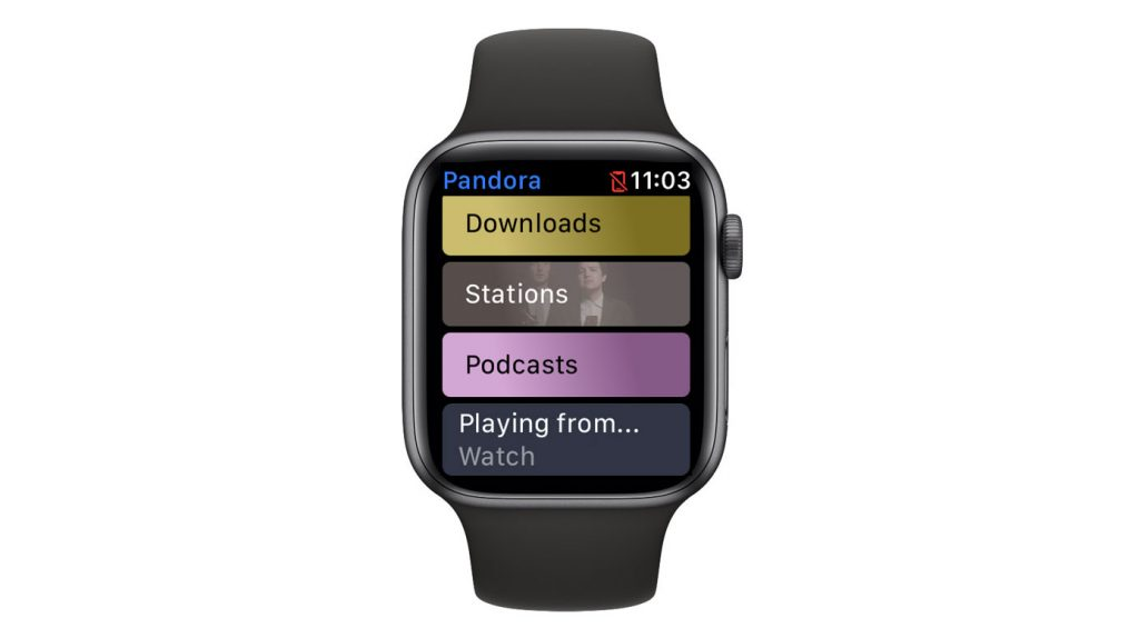 Playing from option in Apple watch Pandora app