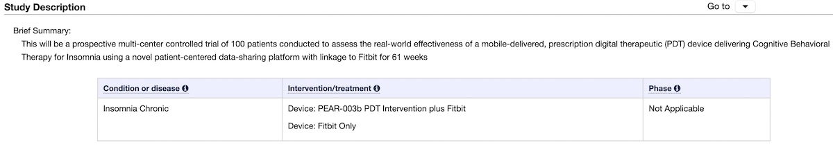Pear and Fitbit Clinical study for sleep disorders