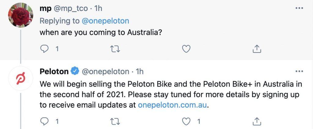 Peloton coming to Australia in 2021