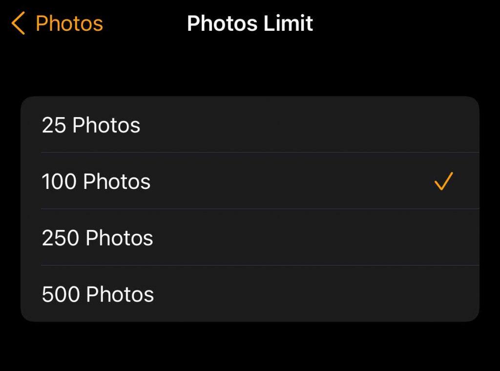 Apple Watch Photos Limit
