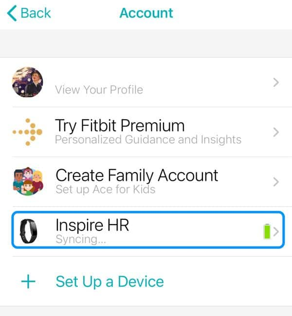 choose your Fitbit device from the Fitbit app account list