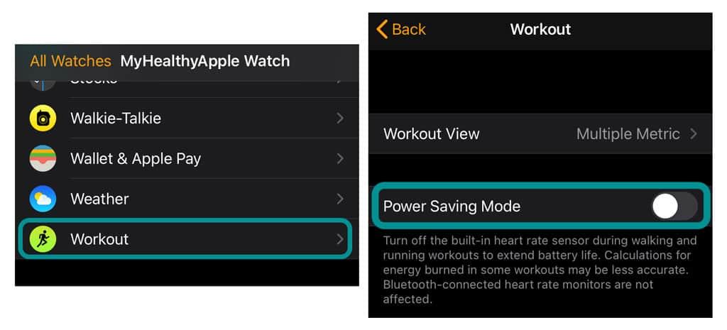 iPhone watch app workout power savings mode