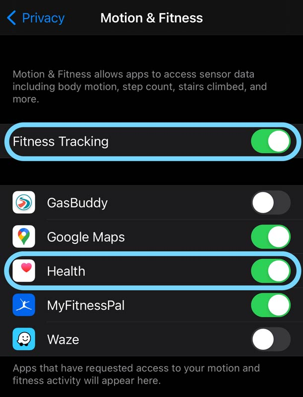 Apple Watch heart rate tracking privacy settings on iPhone