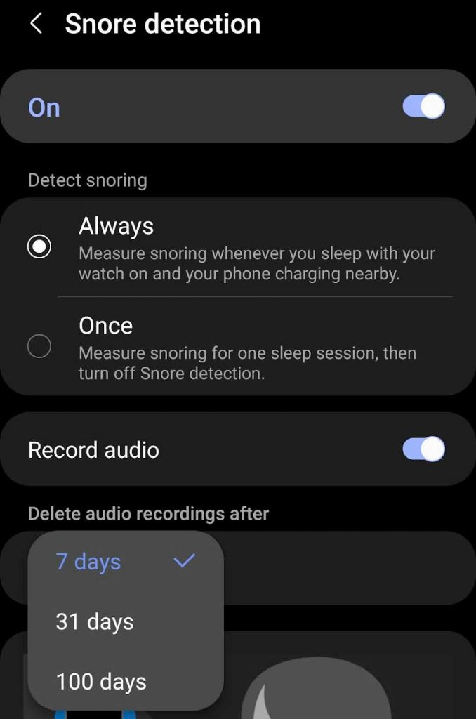 snore detection option to record audio