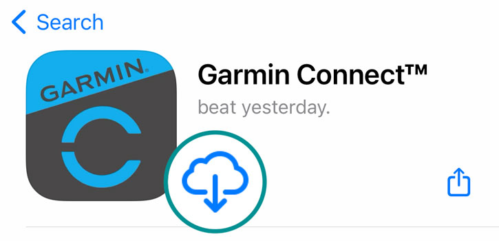 Apple reinstall Garmin Connect app in the App Store on iPhone and iPad
