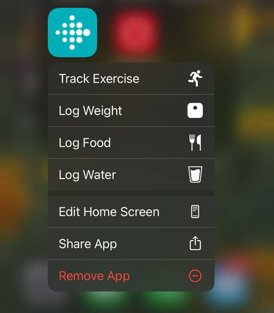 remove the Fitbit app from an iPhone using the quick action menu on the home screen