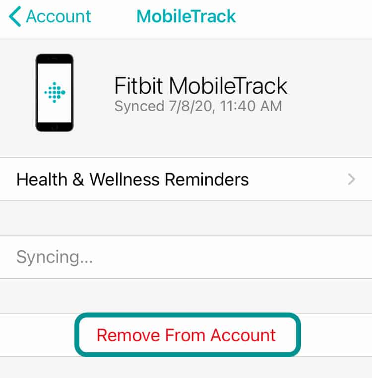 Delete MobileTrack from the Fitbit app