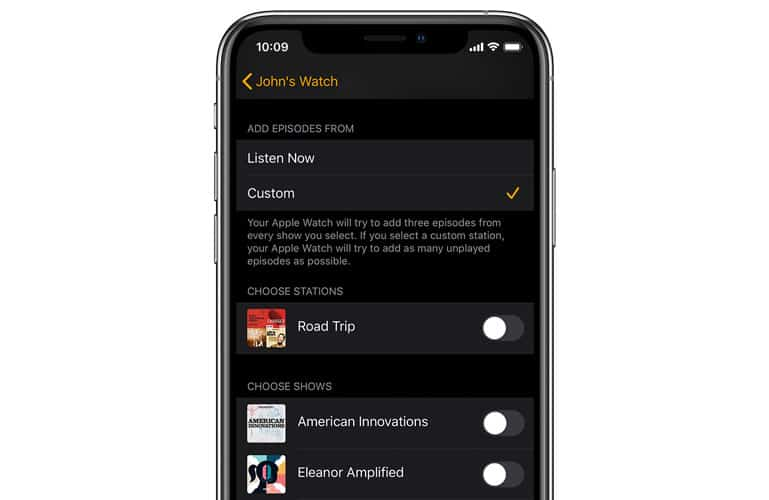 Delete podcasts from Apple Watch storage