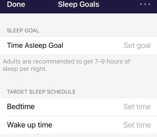 fitbit app all sleep goals and targets removed