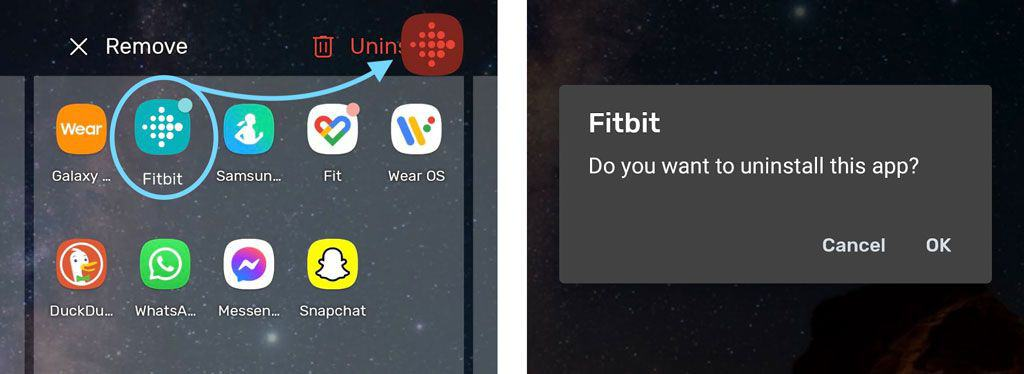 Uninstall Fitbit app from Android delete or remove app from device
