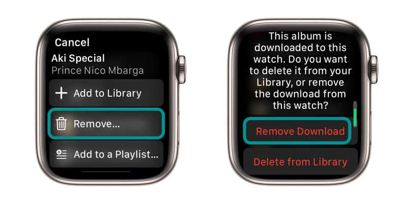 delete downloaded music on Apple Watch