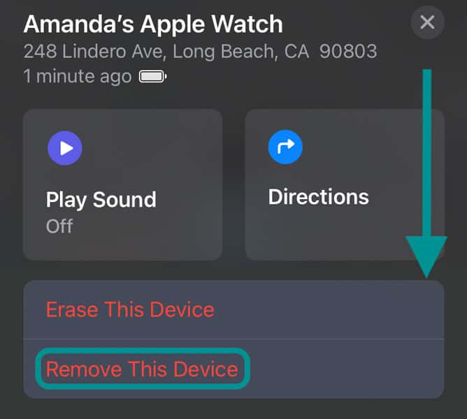 Find My app Remove this device