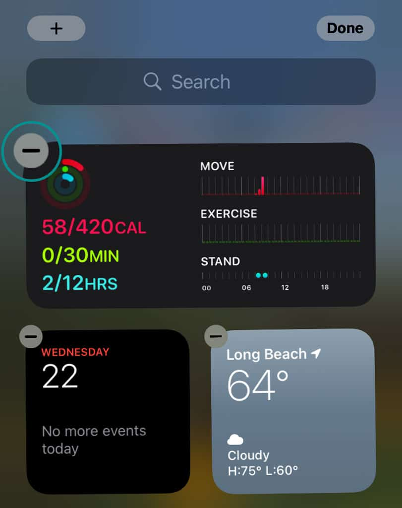 delete fitness app widget from iPhone iOS 14 and above