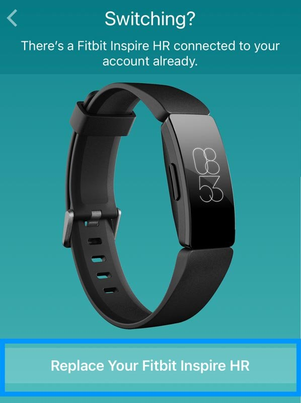 Fitbit app add a replacement Fitbit device