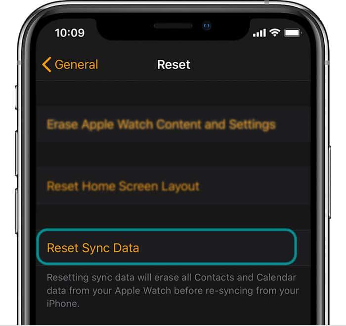 apple watch reset sync data