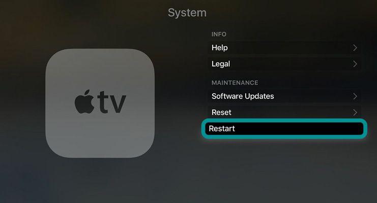 Apple TV restart in system settings