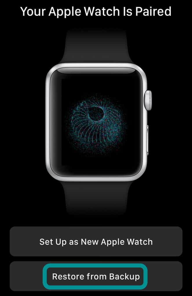 restore an apple watch from a backup