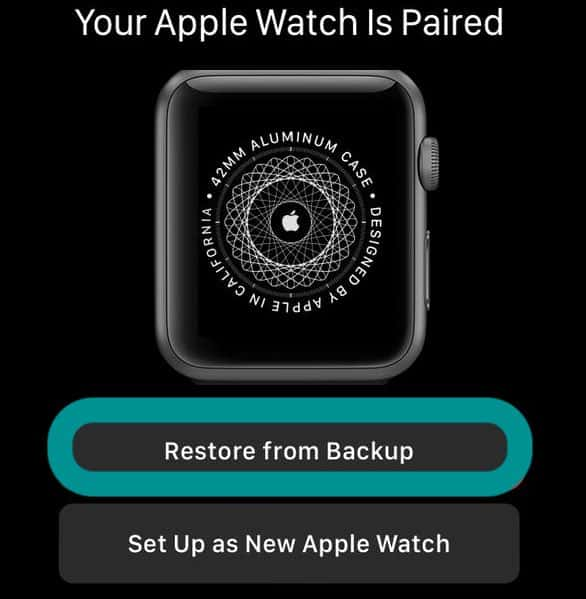 restore Apple Watch from backup after re-pairing it to iPhone