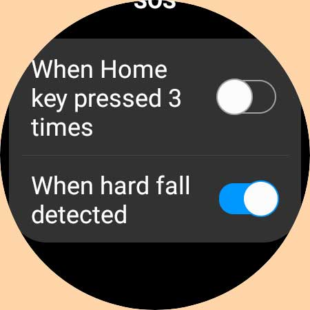 Galaxy watch 4 SOS emergency and fall detection settings