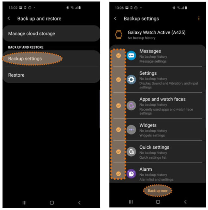 Backup now on Samsung Galaxy watch