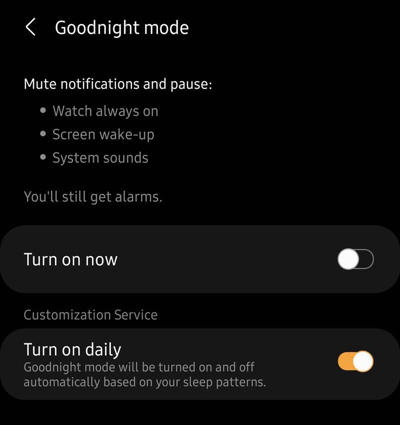 set up Samsung Galaxy watch to automatically turn on Goodnight mode turn on daily
