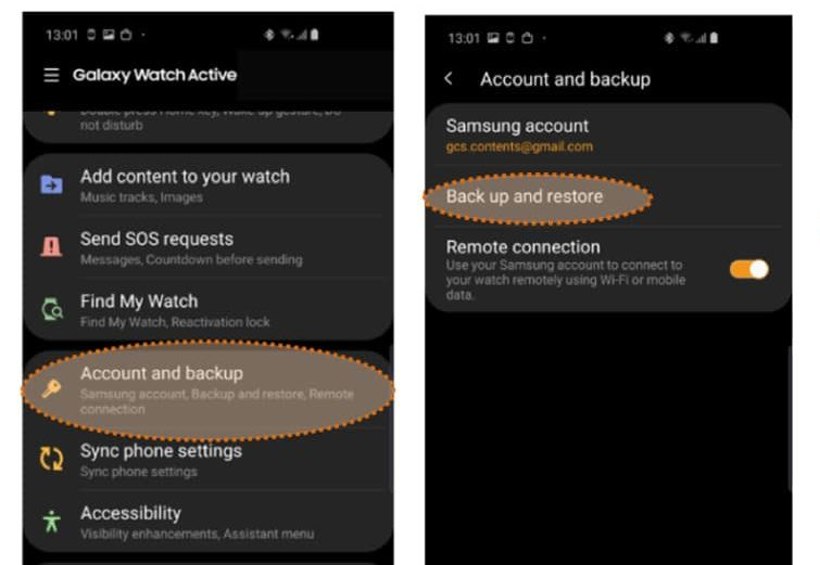 backup and restore settings on Samsung Galaxy watch