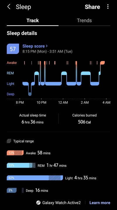 See all your sleep details including sleep scores with Samsung Health app