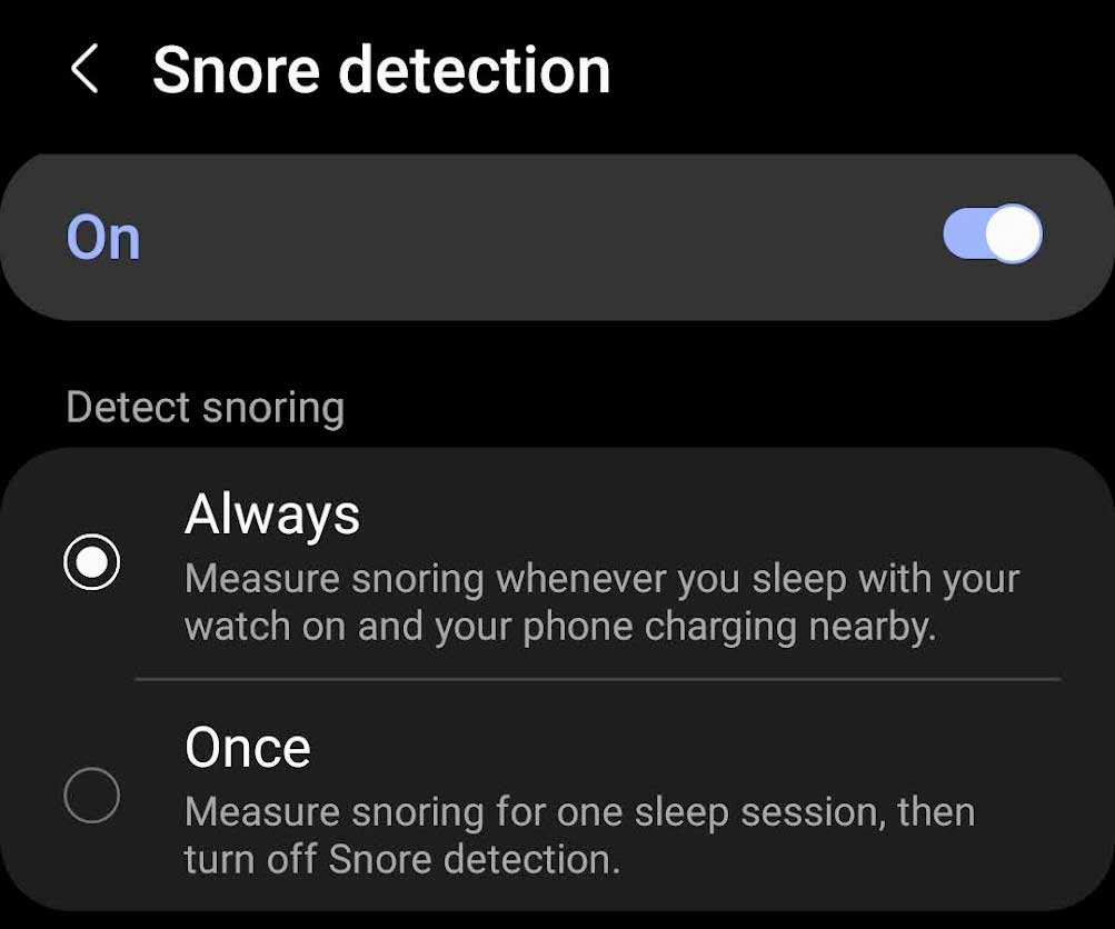 set snore detection on for Samsung Health