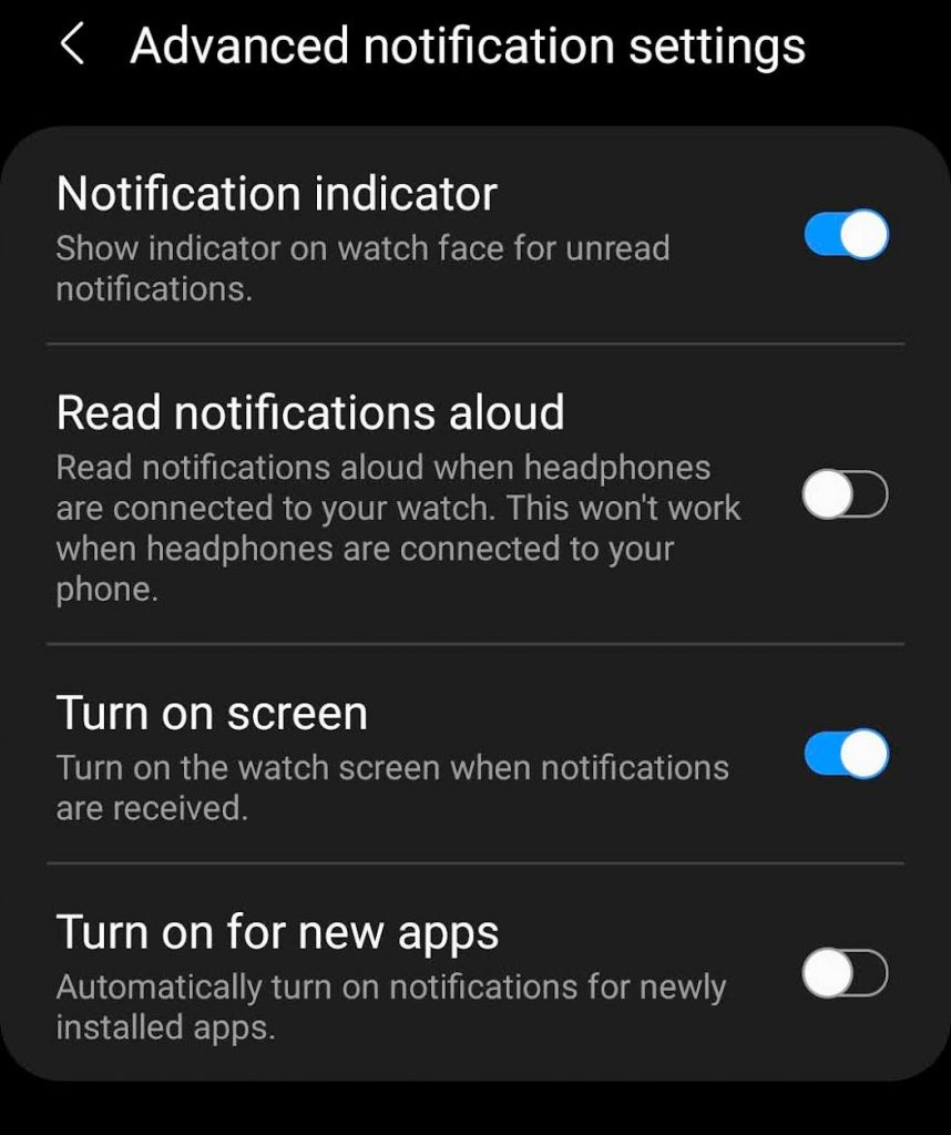 Turn on Galaxy Watch screen when a new notification is received