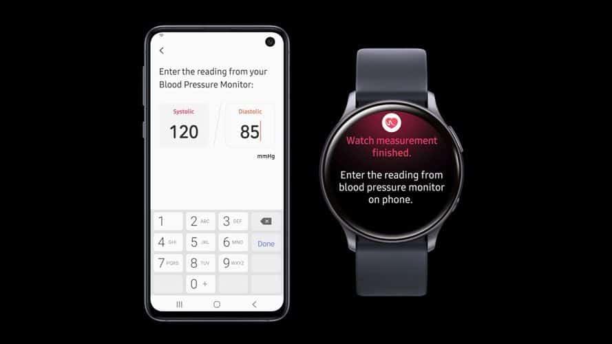 blood pressure reading on Samsung watch