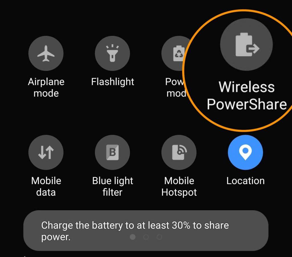 Wireless PowerShare in Quick Panel Settings on Samsung phone
