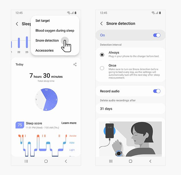 snore detection settings and set up in Samsung Health app