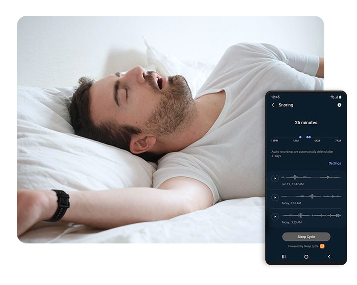 snore detection Samsung Galaxy 4 watch and Samsung Health app