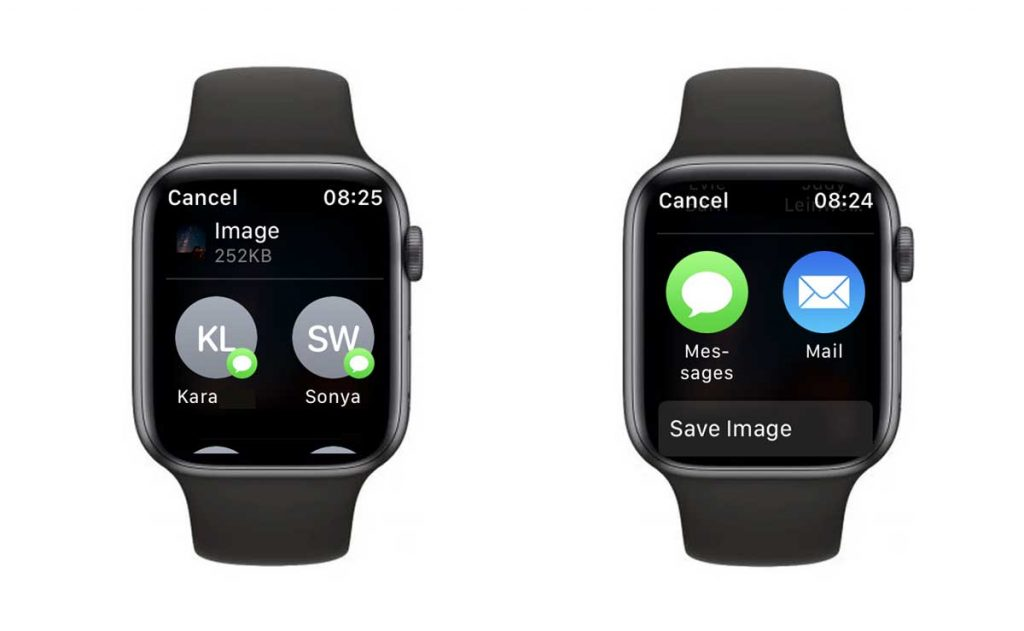 Apple Watch save a photo from a text message to the Photos app on iPhone