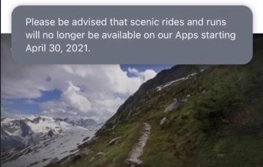 Peloton scenic routes feature