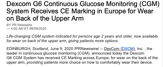 Dexcom CE marking for back of the arm