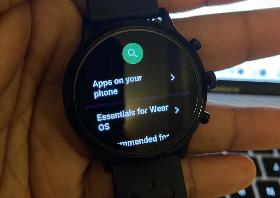 Search for apps on wear OS Smartwatch