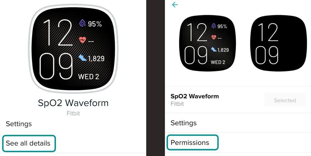 Fitbit app clock face details and permissions