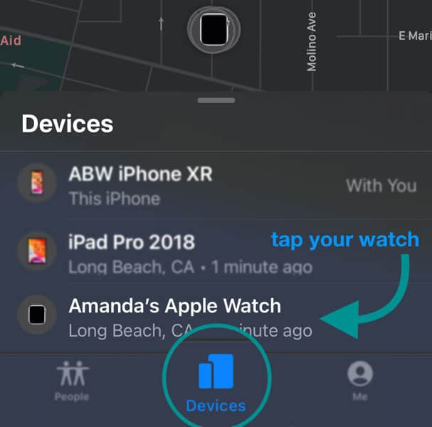 Apple watch in the Find My App