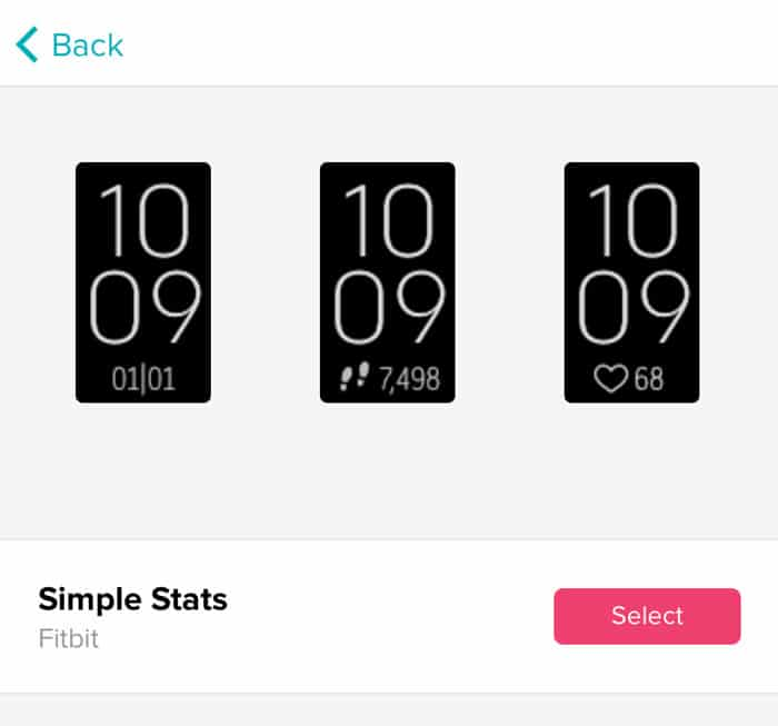 choose new Fitbit clock face in the Fitbit app