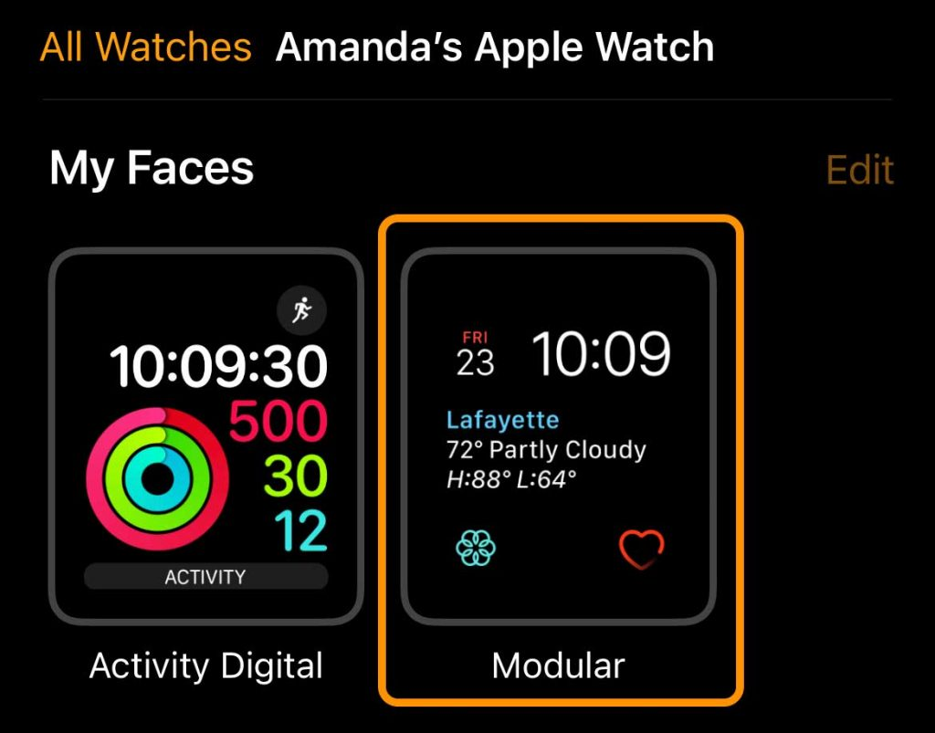 Choose your Apple Watch face in the Watch app on iPhone
