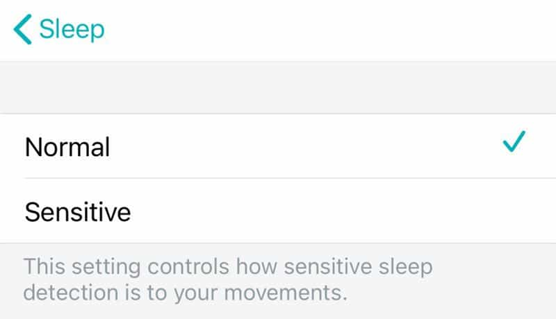 Fitbit app sleep sensitivity from normal or sensitive