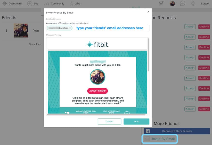 invite Fitbit friends via email on Fitbit's website