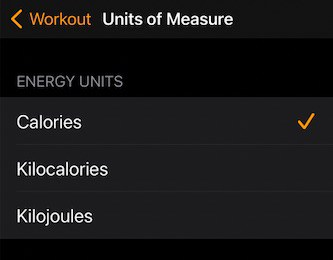 Set Apple watch energy units to calories