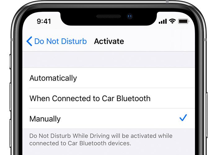 iPhone do not disturb while driving to manually