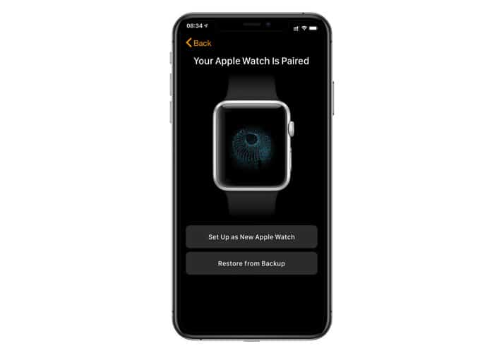 Apple Watch set up as new or restore from backup