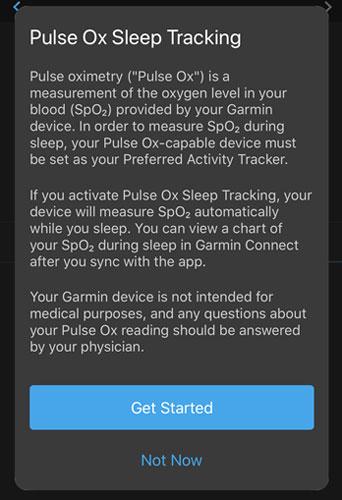 Garmin sleep Pulse Ox sleep tracking